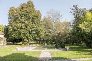 Le parc et son bassin vue depuis l'habitation