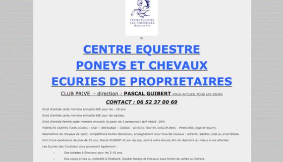 Capture site internet équestre Ecurie Coudriers